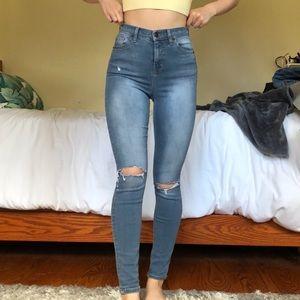 Topshop MOTO Jamie Jeans with Distressed Knees
